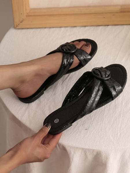 Milanoo Flat Sandals For Women Metal Details Flat PU Leather Casual Flat Slippers