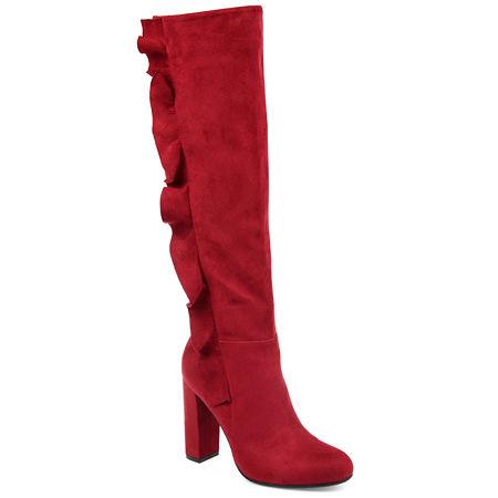 Journee Collection Womens Vivian Dress Boots Block Heel, 11 Medium, Red