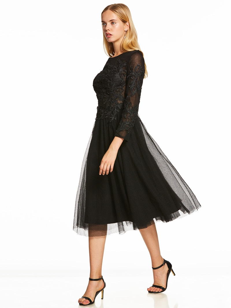 Ericdress Scoop Neck Long Sleeves A Line Cocktail Dress