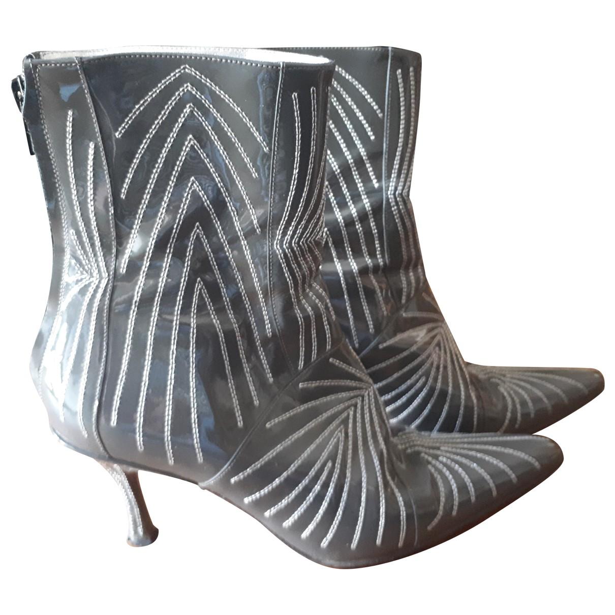 Free Lance - Boots   pour femme en cuir verni - gris
