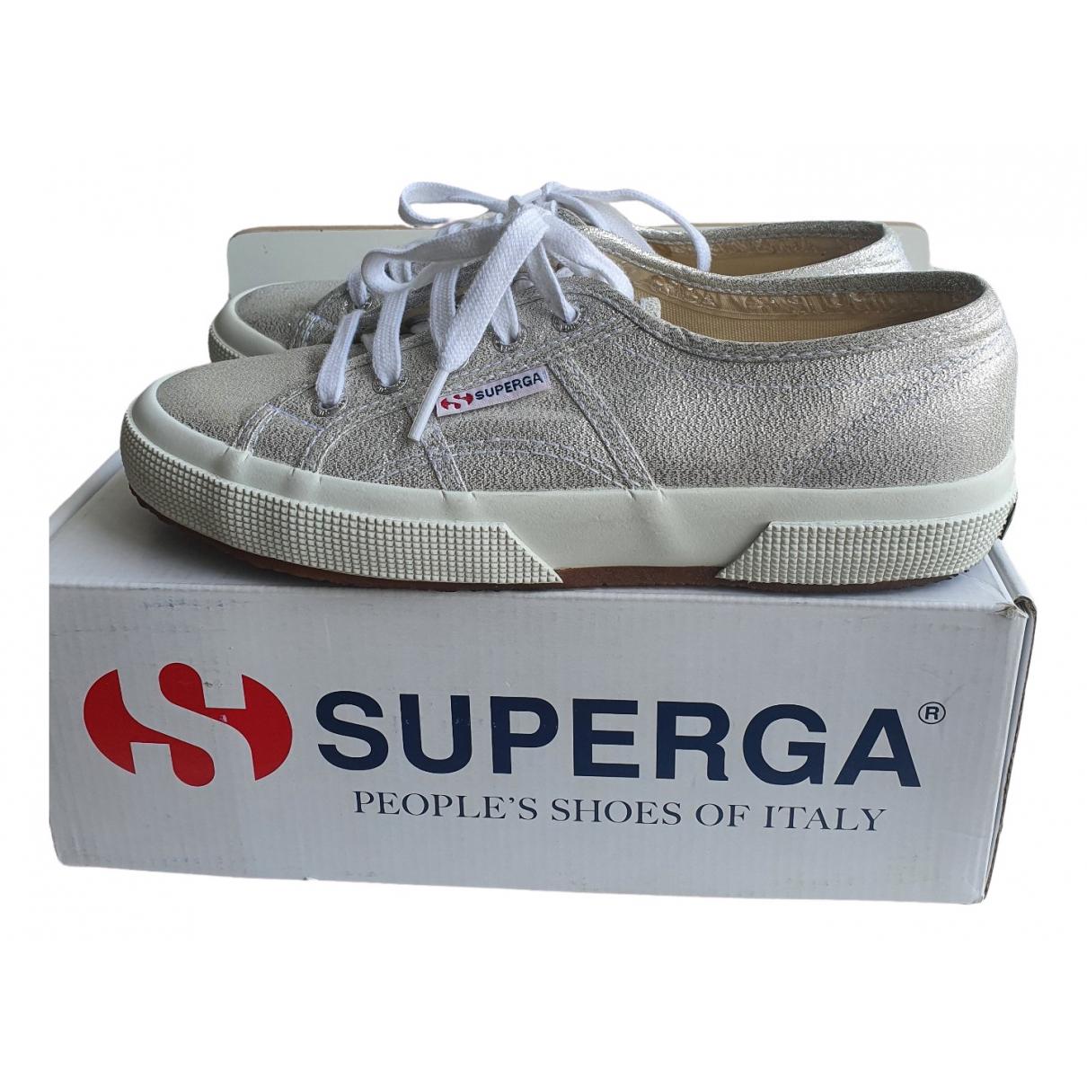 Superga \N Sneakers in  Silber Leinen