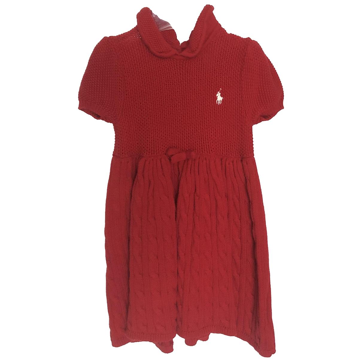 Ralph Lauren - Robe    pour enfant en coton - rouge