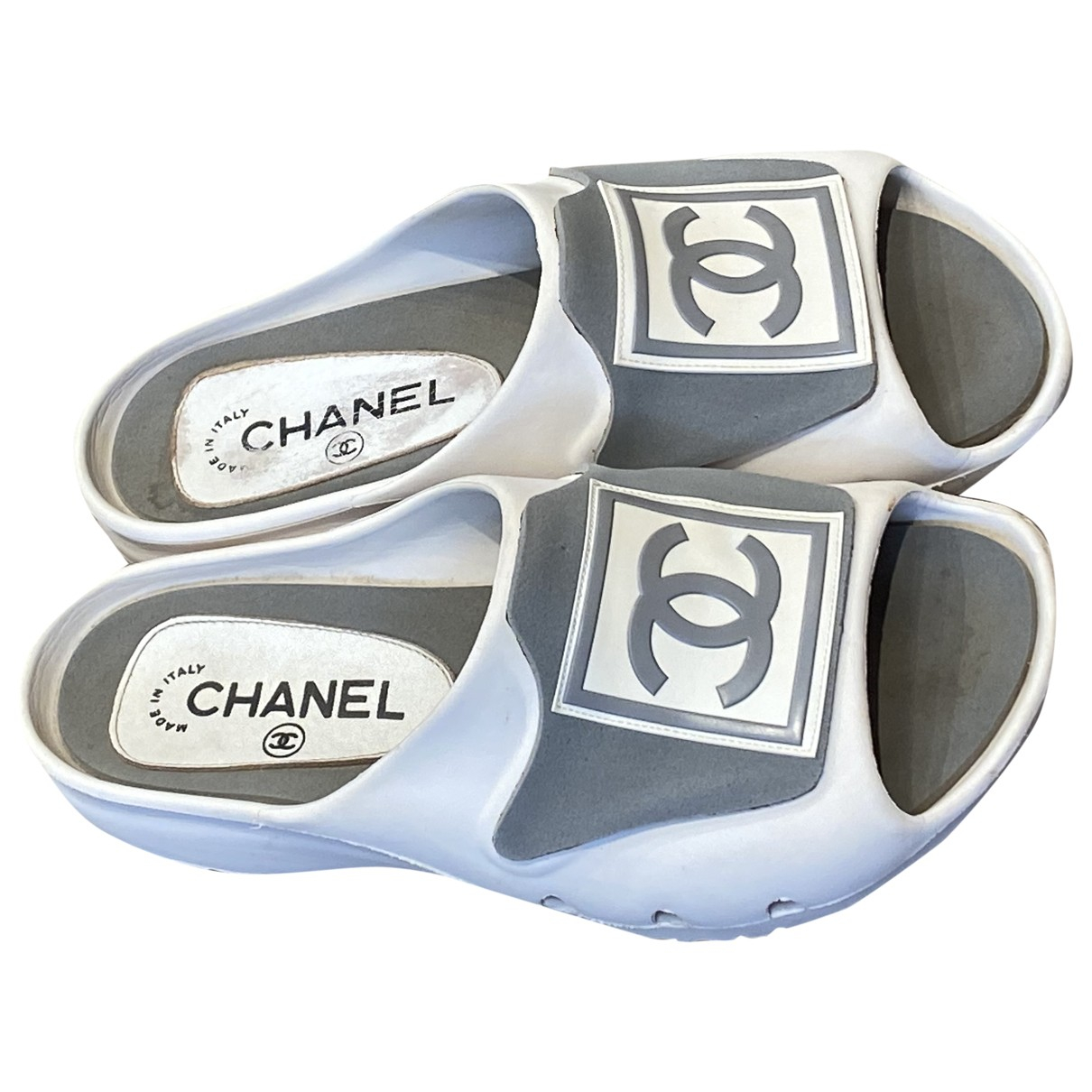 Chanel \N White Rubber Sandals for Women 38 EU