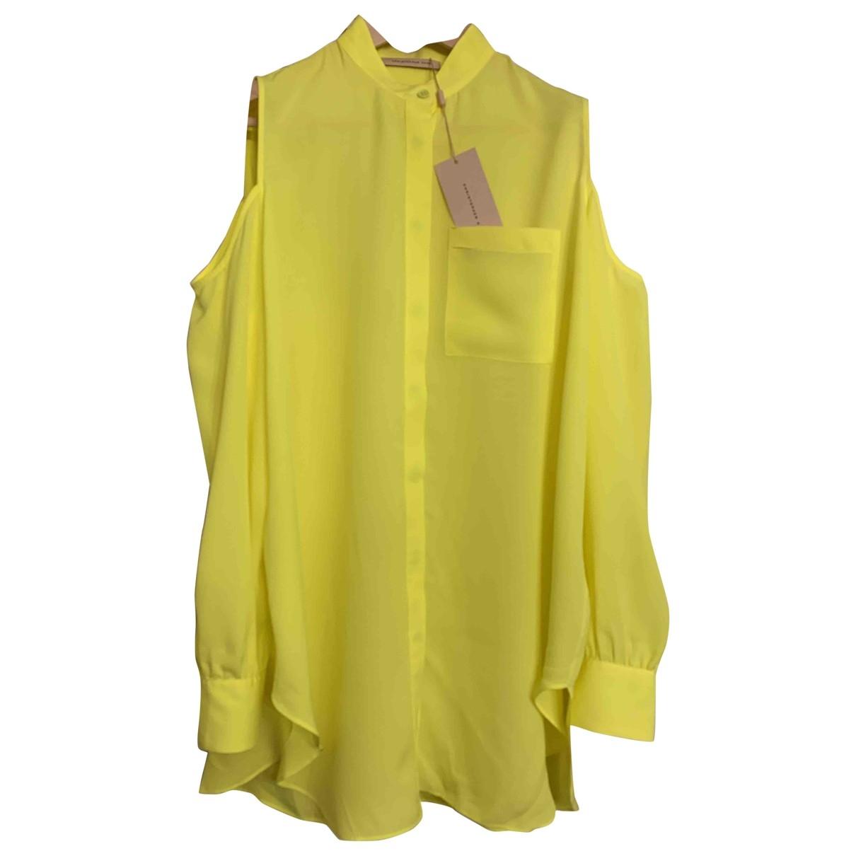 Christopher Kane - Top   pour femme en soie - jaune