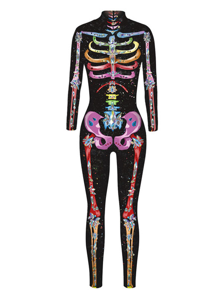 Milanoo Halloween Costume Skeleton Zentai Halloween Women Outfit