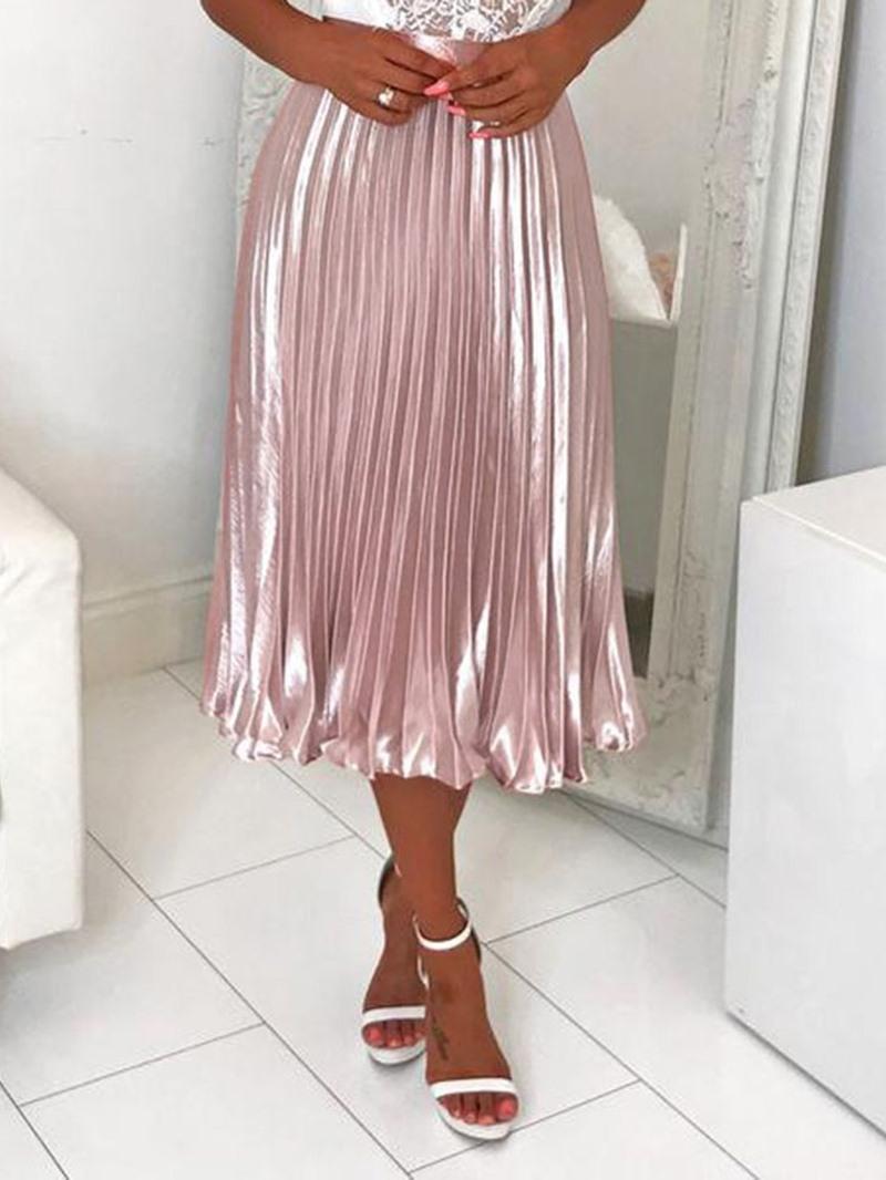 Ericdress Plain Pleated Mid-Calf Office Lady Skirt