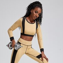 Colorblock Crop Fitted Sports Tee