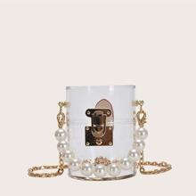 Maedchen Zylinder transparente Umhaengetasche mit Kunstperlen Griff