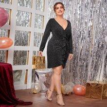 Plus Glitter Ruched Ruffle Trim Front Dress