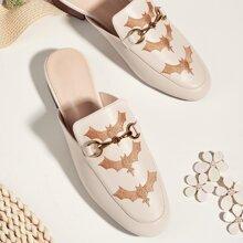 Loafer Pantoffeln mit Horsebit Dekor und Fledermaus Stickereien