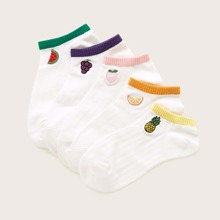 5pairs Fruit Embroidered Socks