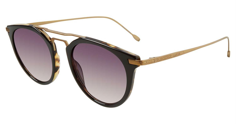 John Varvatos V522BLT48 Gradient Round Sunglasses Grey/Black/Gold