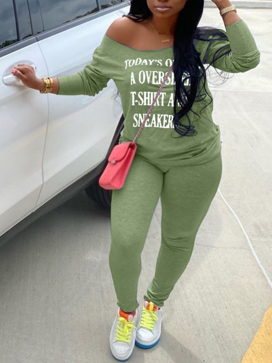 LW lovely Casual Letter Print Green Plus Size Two-piece Pants Set
