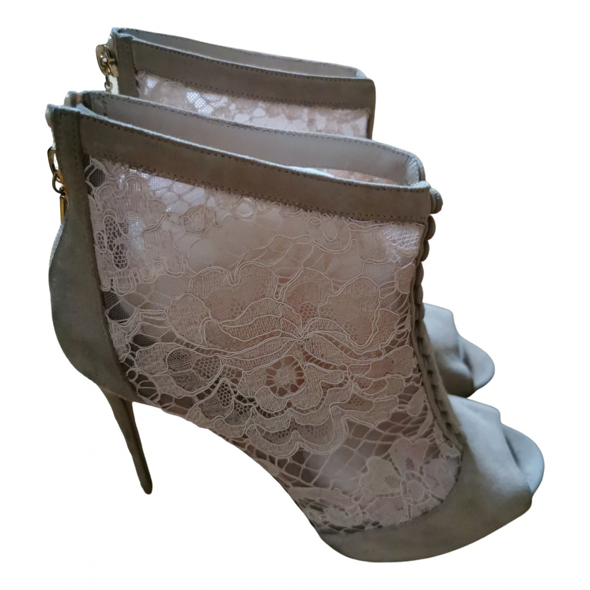 Dolce & Gabbana \N Stiefeletten in  Rosa Veloursleder