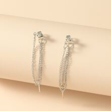 Bar Detail Chain Tassel Earrings