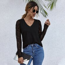 Sheer Lace Sleeve Solid Top