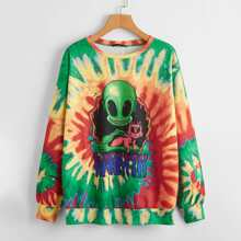 Pullover mit sehr tief angesetzter Schulterpartie, Buchstaben und Alien Muster und Batik
