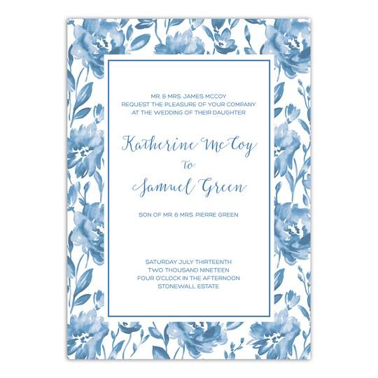 20 Pack of Martha Stewart Bedford Sweet Floral Personalized Wedding Invitation in Cobalt | 5