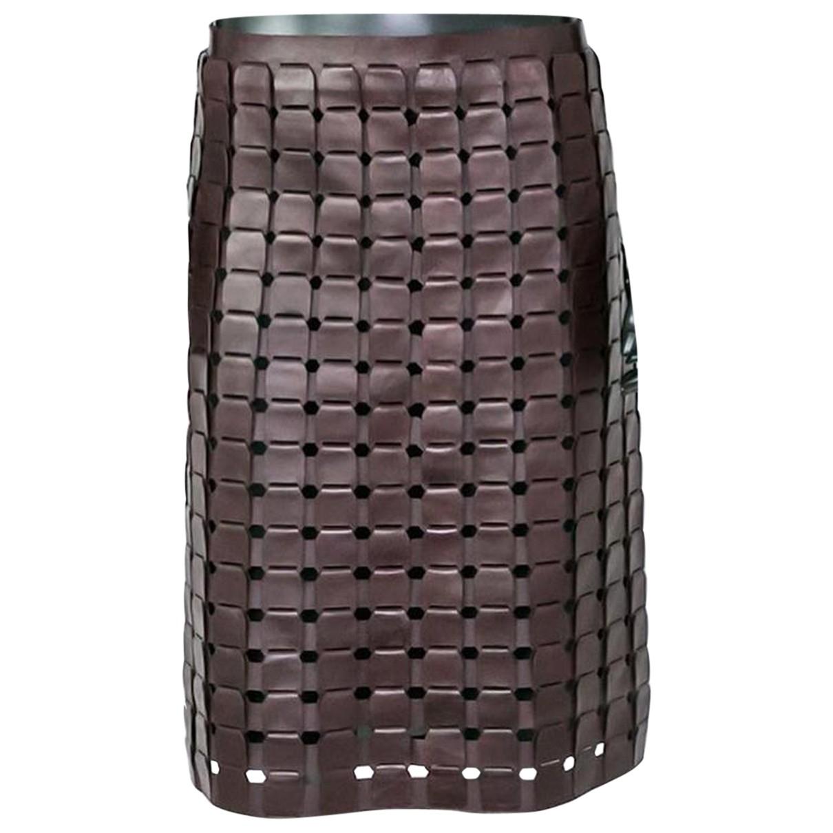 Bottega Veneta - Jupe   pour femme en cuir - bordeaux