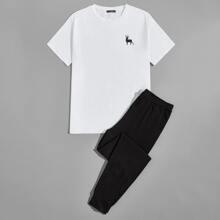 Men Elk Print Tee & Pants PJ Set