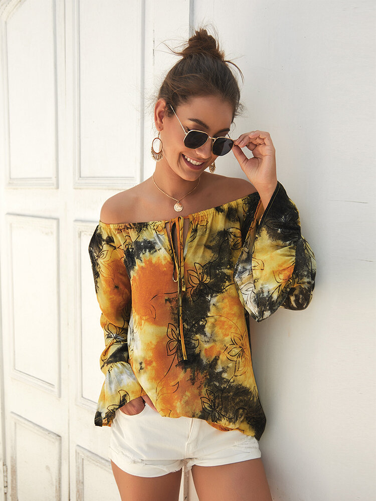 Tie-Dye Floral Print Ruffled Sleeves Off Shoulder Casual Blouse For Women
