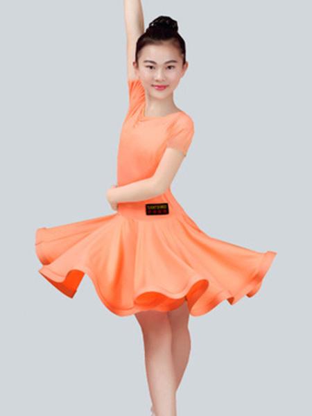 Milanoo Dance Costumes Latin Dancer Dresses Kids Plum Short Sleeve Ballroom Dancing Wears For Girls Halloween