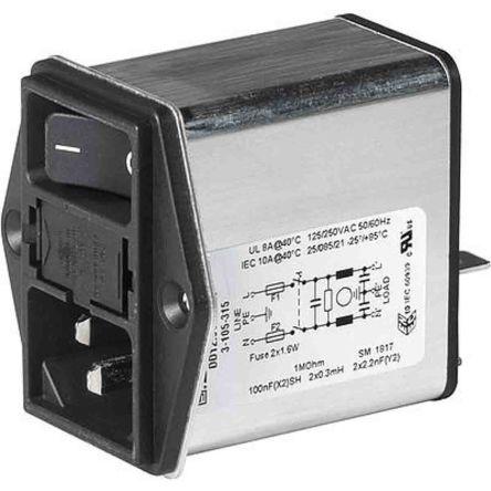 Schurter ,6A,250 V ac Screw Mount Filtered IEC Connector 3-102-857 (10)