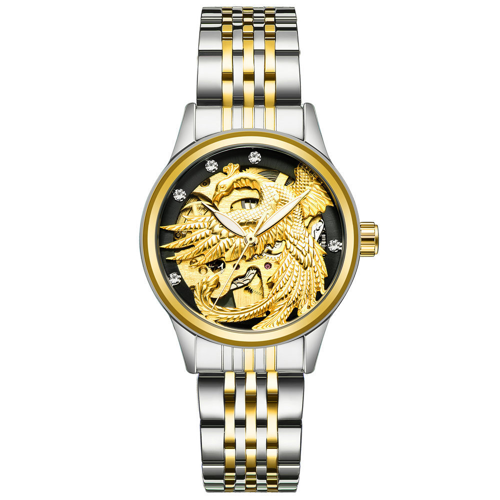 TEVISE Luxury Automatic Mechanical Watch Luminous Dragon Phoenix Couple Watch for Her Him