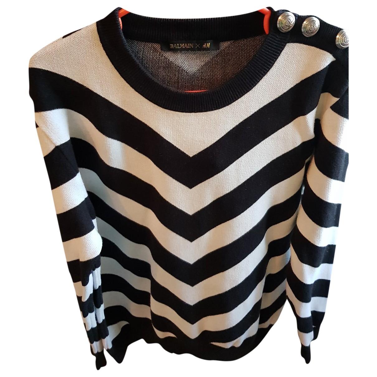 Balmain For H&m \N Pullover.Westen.Sweatshirts  in  Schwarz Wolle