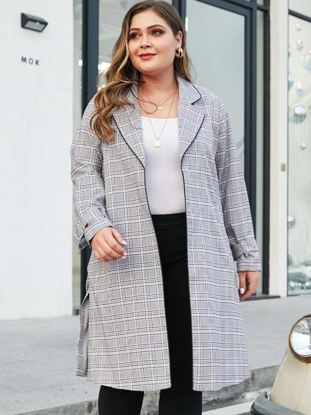 YOINS Plus Size Grey Plaid Notch Collar Coat