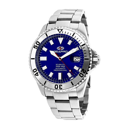 Sea-Pro Mens Automatic Silver Tone Stainless Steel Bracelet Watch-Sp4316, One Size , No Color Family
