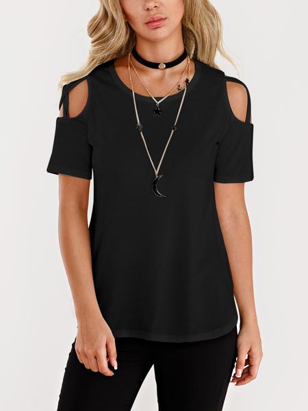 Yoins Black Cold Shoulder Short Sleeves T-shirts