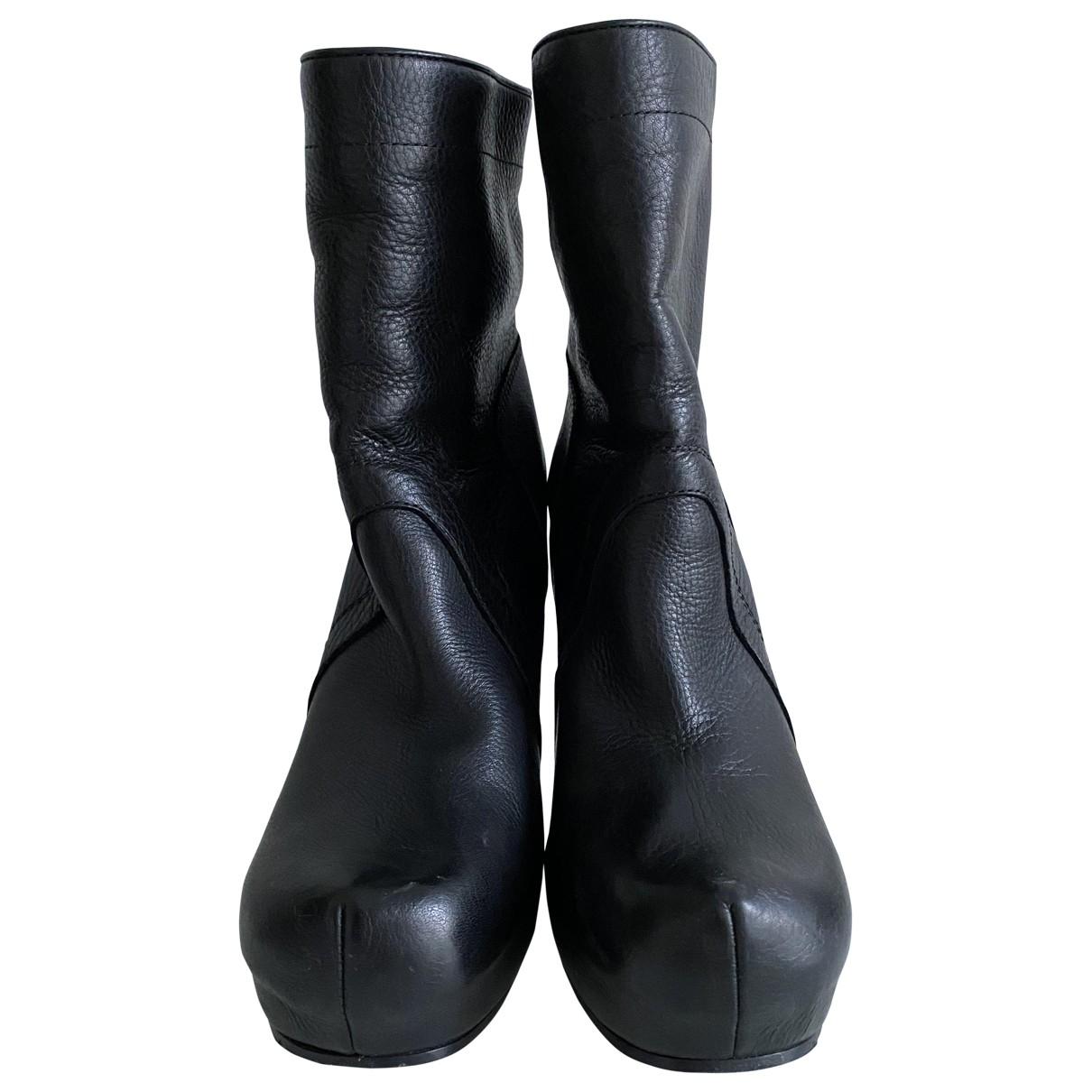 Rick Owens - Boots   pour femme en cuir - noir