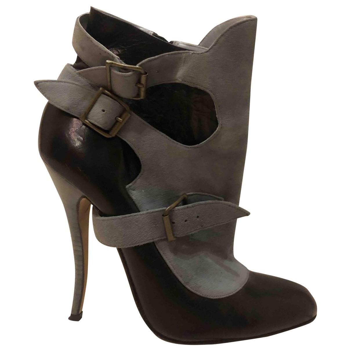 Manolo Blahnik - Boots   pour femme en cuir - bleu