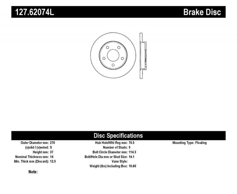 StopTech 127.62074L Sport Drilled/Slotted Brake Rotor; Rear Left Rear Left