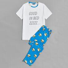 Schlafanzug Set mit Buchstaben Grafik und Hamburger Muster