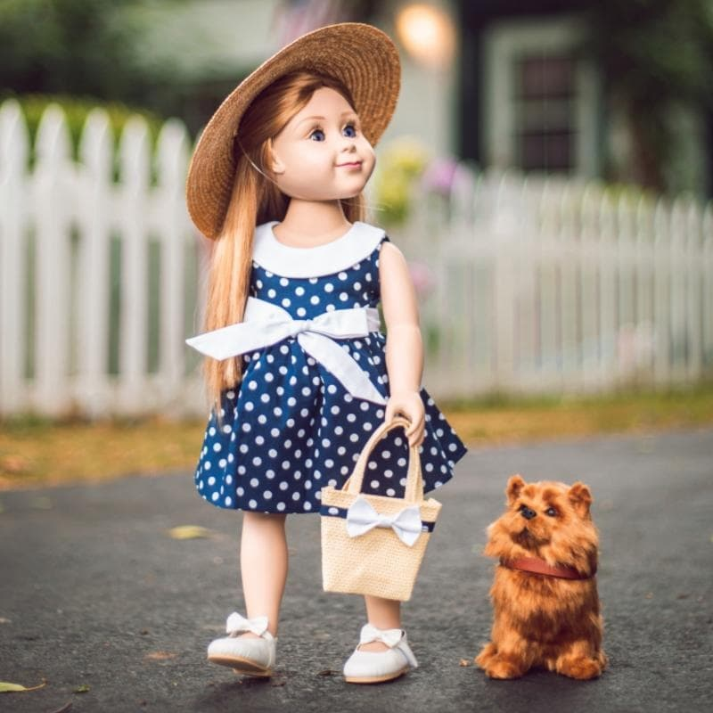 The Queen's Treasures 18 Inch Doll Clothes, Blue & White Polka Dot Dress, Hat, Hand Bag, Compatible with American Girl (5-7 Years)