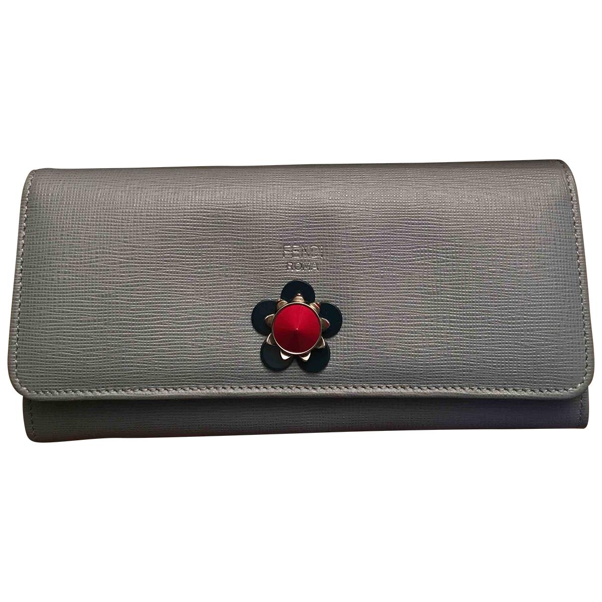 Fendi - Portefeuille   pour femme en cuir - gris