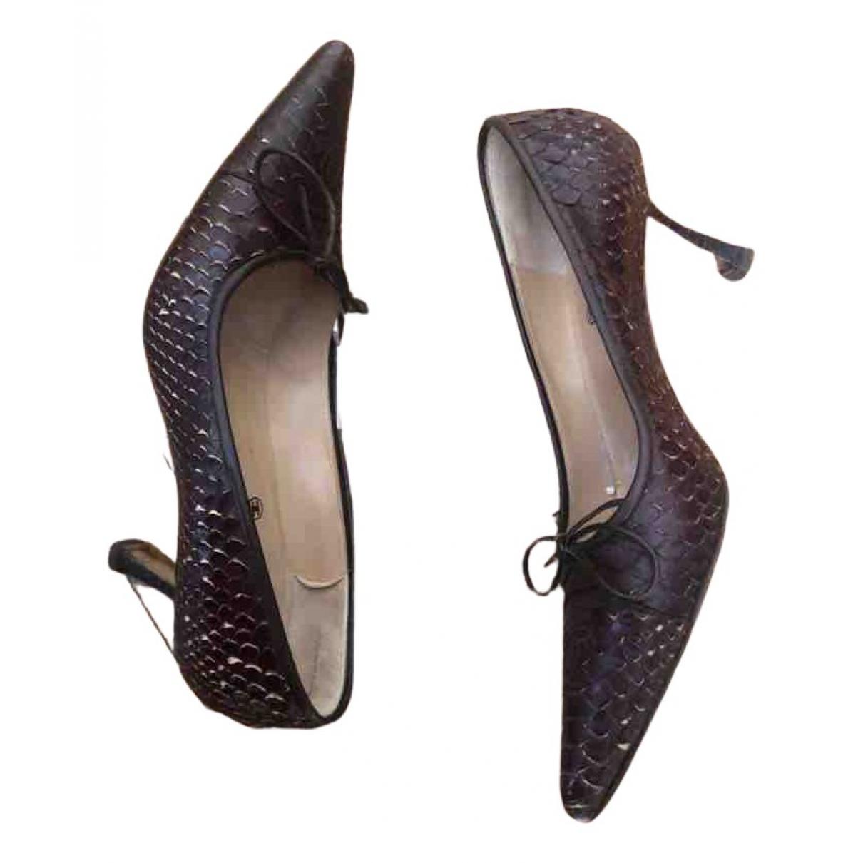 Chanel N Brown Python Heels for Women 37.5 EU