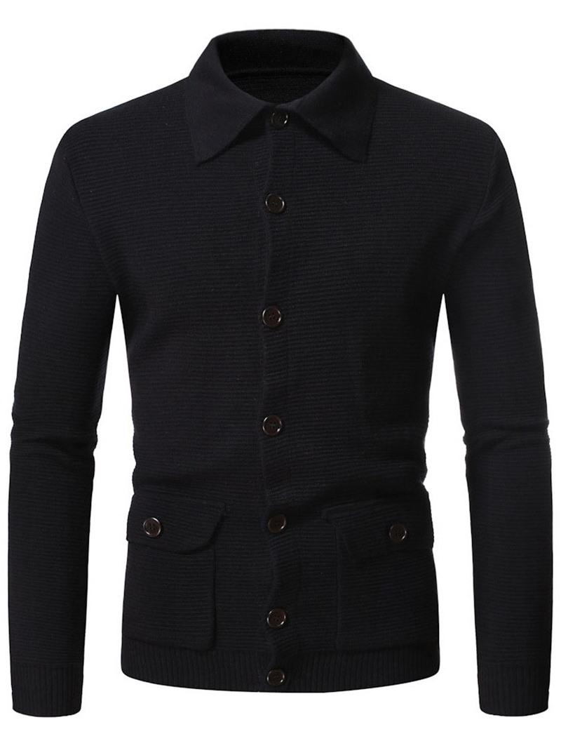 Ericdress Pocket Plain Standard Single-Breasted European Men's Coat Sweater