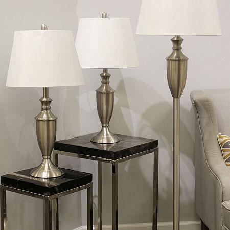 Stylecraft Geneva 3-pc. Lamp Set, One Size , Silver