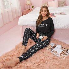 Skeleton And Star Print Pajama Set