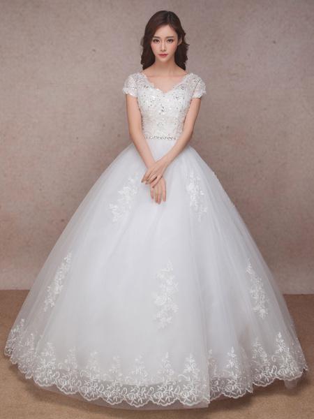 Milanoo Vestido de novia princesa hasta el suelo con cuello en V con manga corta De banda de encaje estilo princesa