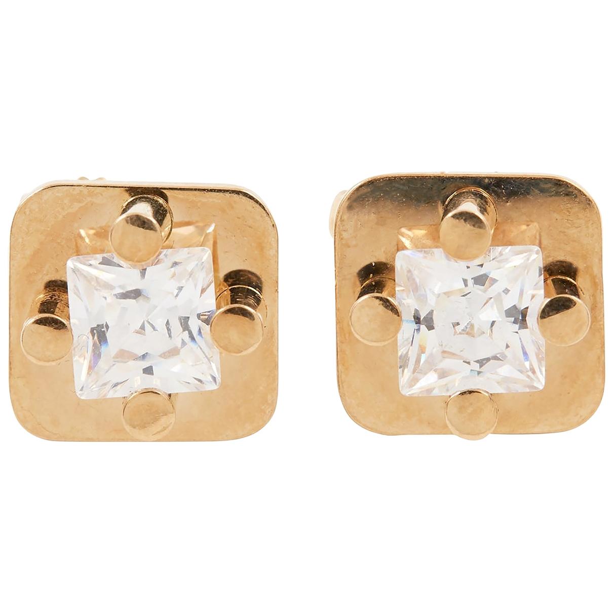 - Boucles doreilles Puces en diamants pour femme en or jaune - blanc