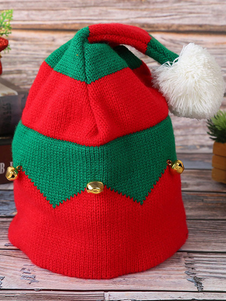 Milanoo Red Xmas Hat Bell Pom Pom Color Block Christmas Party Accessory