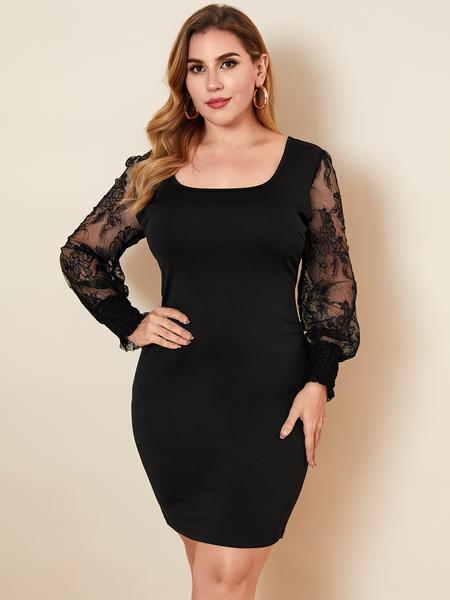YOINS Plus Size Square Neck Patchwork Long Sleeves Mini Dress