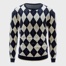 Men Argyle Print Crew Neck Sweater