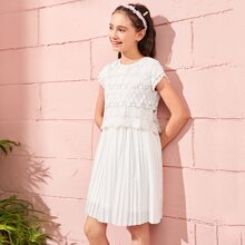 Girls Guipure Lace Overlay Bodice Pleated Dress