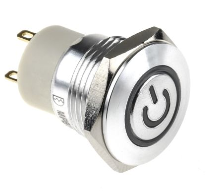 RS PRO Single Pole Single Throw (SPST) Momentary Blue, White LED Push Button Switch, IP67, 16 (Dia.)mm, Panel Mount, (20)