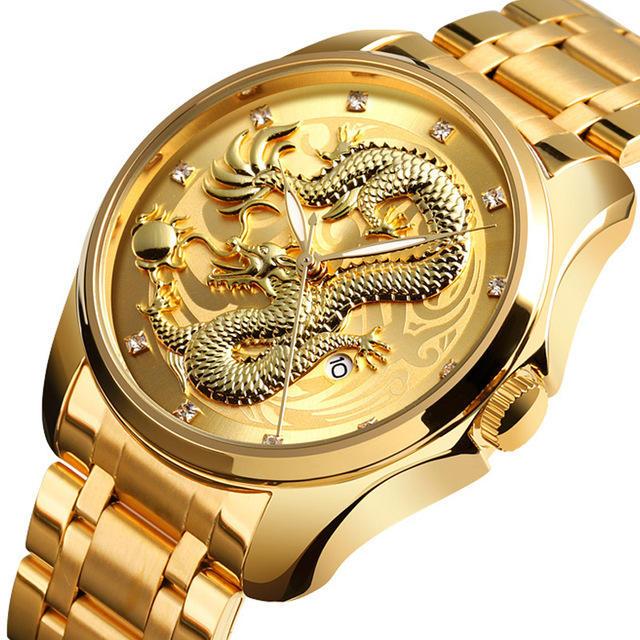 SKMEI 9193 Luxury Chinese Dragon Pattern Golden Quartz Watch